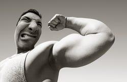 Beteken de mens met grote spieren Royalty-vrije Stock Afbeeldingen