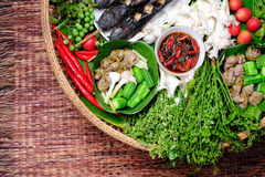Beteken Spaanse peper, het voedsel van Thai stock afbeelding