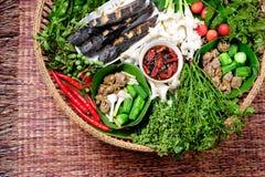 Beteken Spaanse peper met grillvissen royalty-vrije stock fotografie