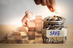 Betekenis van het concept van het besparingsgeld met spaarvarken die holdingshand bekijken met muntstuk stock foto's