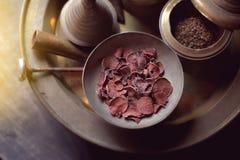Betel - καρύδι στο κύπελλο ορείχαλκου, δοχείο για betel - καρύδι και betel Στοκ Εικόνες