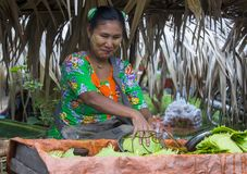 Betel πωλητής φύλλων στο Μιανμάρ Στοκ Εικόνες