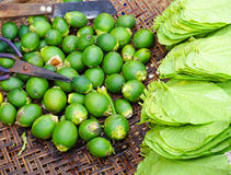 Betel leaf with areca nut for sale at the market Royalty Free Stock Photography