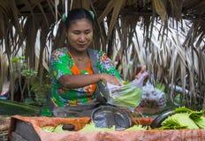 Betel leaf seller in Myanmar. SHAN STATE , MYANMAR - SEP 06 : Burmese woman selling betel leaf in a market in Shan state Myanmar on September 06 2017 , in Royalty Free Stock Image