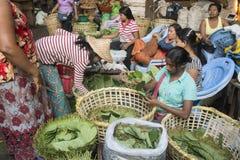 BETEL LEAFES DEL MERCADO DE ASIA MYANMAR RANGÚN Imagen de archivo libre de regalías