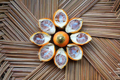 Betel nut in the coconut basket. Betel nut in the coconut leaves basket Royalty Free Stock Photography