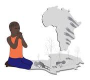 Beten Sie für Afrika lizenzfreie abbildung
