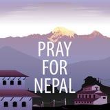 Beten Sie für Nepal-Vektor Stockfotos