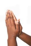 Betende afrikanische Hände Stockbild