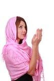 Betende entzückende moslemische Frau Stockfotografie