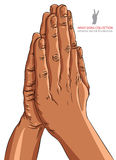 Betende Hände, afrikanische Ethnie, ausführliche Vektorillustration, Lizenzfreies Stockfoto