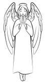 Betender Engel der Kontur Stockfoto