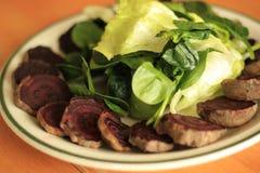 Beterrabas cozidas orgânicas, espinafres crus, salada crua da alface Imagens de Stock