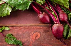 Beterrabas novas orgânicas com as folhas verdes na tabela de madeira Fotos de Stock Royalty Free