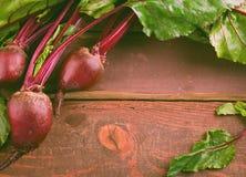 Beterrabas novas orgânicas com as folhas verdes na tabela de madeira Imagens de Stock