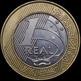 Beteuert eine Münze von 1 wirklich (Brasilien) Stockfotos