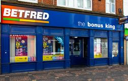 Betfred bookmaker Swindon royaltyfri foto