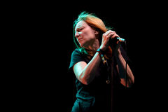 Beth Gibbons, singer of Portishead trip hop band, performs at FIB Festival. BENICASSIM, SPAIN - JUL 19: Beth Gibbons, singer of Portishead trip hop band Royalty Free Stock Image