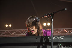 Beth Hart sings and plays keyboards Royalty Free Stock Image