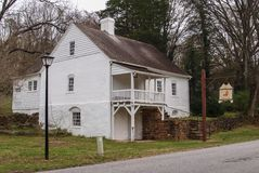 Bethabara历史的区在温斯顿萨兰姆 免版税库存图片