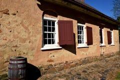 Bethabara, NC :1788 Gemeinhaus Moravian教会 库存图片