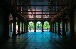 Фонтан Bethesda, более низкий проход, ангел, Central Park, зеленое легкий, терраса, Нью-Йорк Стоковая Фотография RF