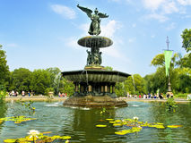 Bethesda Fountain. Is the central feature on the lower level of the Bethesda Terrace located in Central Park (New York, United States Stock Photos