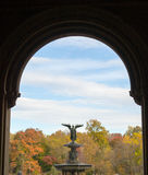 The Bethesda fountain in an autumn morning. The Bethesda fountain located in the lower level of The Terrace in Central park was designed by Emma Stebbins in 1868 Royalty Free Stock Image