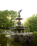 Bethesda fountain in Central park, backlit by late afternoon sun Royalty Free Stock Image
