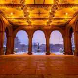 Bethesda Fountain in Central Park New York  after snow storm Stock Image