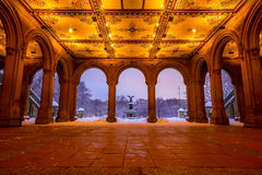 Bethesda Fountain in Central Park New York  after snow storm Stock Images