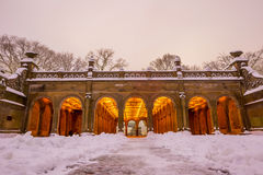 Bethesda Fountain in Central Park New York  after snow storm Royalty Free Stock Image