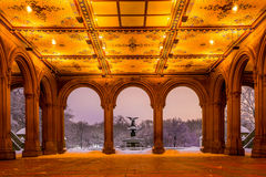 Bethesda Fountain in Central Park New York  after snow storm Stock Photos