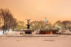 Bethesda Fountain in Central Park New York  after snow storm Royalty Free Stock Photos