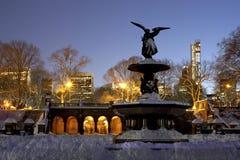 Bethesda Fountain Central Park after snow storm Nemo Stock Photo