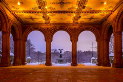 Bethesda Fountain i Central Park New York efter snöstorm royaltyfri fotografi