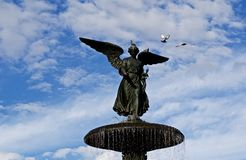 Bethesda Fountain statue with pigeons stock images