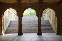 Bethesda Terrace Arches, Central Park, New York. Three arches leading to the steps towards the Bethesda Terrace in Central Park, Manhattan, New York Stock Photo