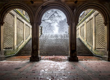 Bethesda Terrace Central Park, New York City. Central Park, New York City Bethesda Terrace tunnel after snow storm Stock Photo