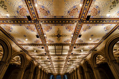 Bethesda Terrace Underpass Interior. Seen here is an extreme perspective image featuring the ceiling of the Bethesda Terrace Underpass as shot one evening Royalty Free Stock Photo