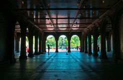 Bethesdafontein, lagere passage, engel, Central Park, groene long, terras, de Stad van New York Royalty-vrije Stock Fotografie