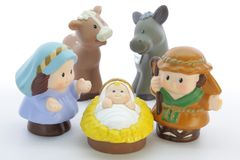 Bethlehem. Christmas scene composed of child figures on a white background stock photo