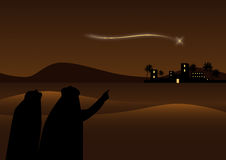 Bethlehem background. A Christmas nightly landscape with Bethlehem on desert background.On foreground people look the comet on the sky.EPS file available Royalty Free Stock Photo