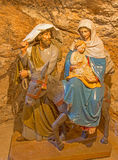 Bethlehem - The carved sculpture of Holy Family in Milk Grotto. Stock Photography