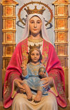 Bethlehem -  The carved statue of Madonna from 20. cent. by unknown artist in Milk Grotto chapel as the gift from Venezuela. Royalty Free Stock Photos