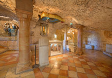 Bethlehem - The cave of Milk Grotto chapel. Stock Photos