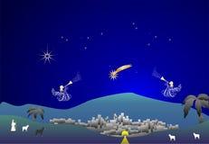 Bethlehem,. Composition with Christmas crib, angels, city, shepherds Stock Photos