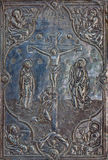 Bethlehem - Crucifixion of Christ. The detail of the metal binding of liturgical book from 19. cent. Stock Photography