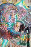 Bethlehem - Detail of graffiti on the Separation barrier. Cried mother. Stock Photo