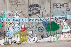Bethlehem - The Detail of graffitti on the Separation barrier. Stock Photography